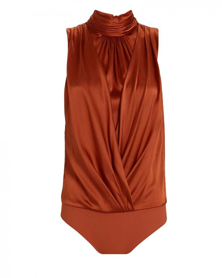 Kenzie Silk Sleeveless Turtleneck Bodysuit