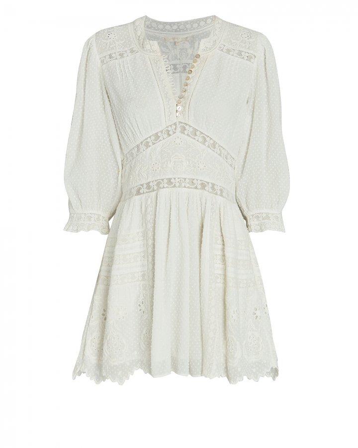 Leno Lace-Trimmed Mini Dress