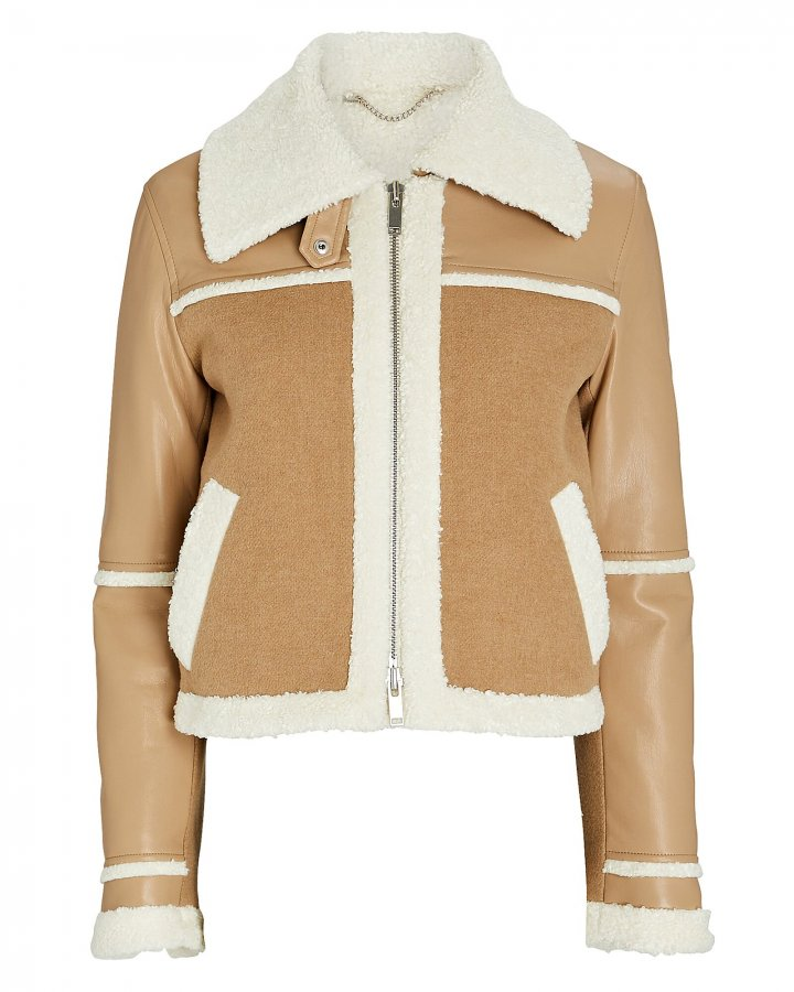 Adelynn Colorblocked Faux Shearling Jacket