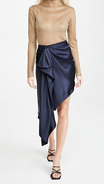 High Waisted Asymmetrical Hemmed Skirt