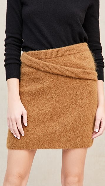 Double Waistband Alpaca Skirt