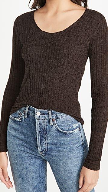 Skinny Rib Scoop Neck Sweater