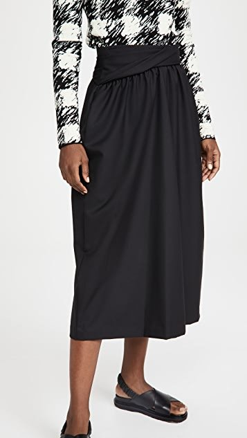 Wool Serge Skirt with Folded Waistband