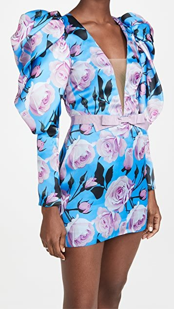 V Neck Puff Sleeve Mini Dress