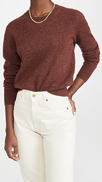 Cropped Cashmere Crew Sweater