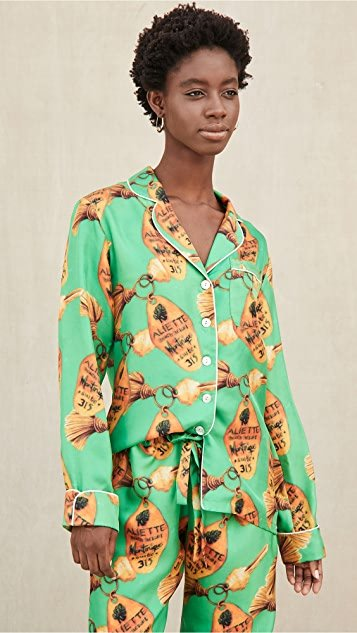 Green Key Long Sleeve Silk Shirt