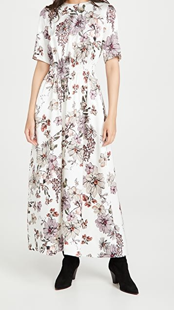 Smocked Waist Gown In Printed Charmeuse
