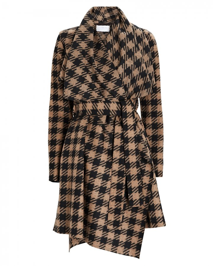 Checked Wool Blanket Coat