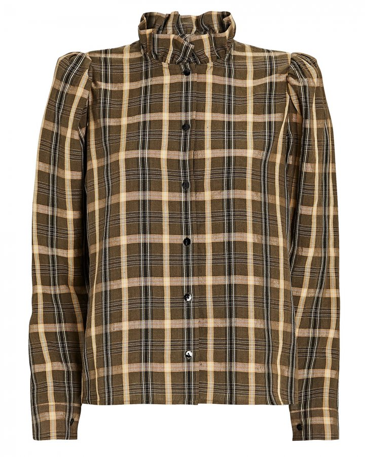 Biba Plaid Button-Down Shirt