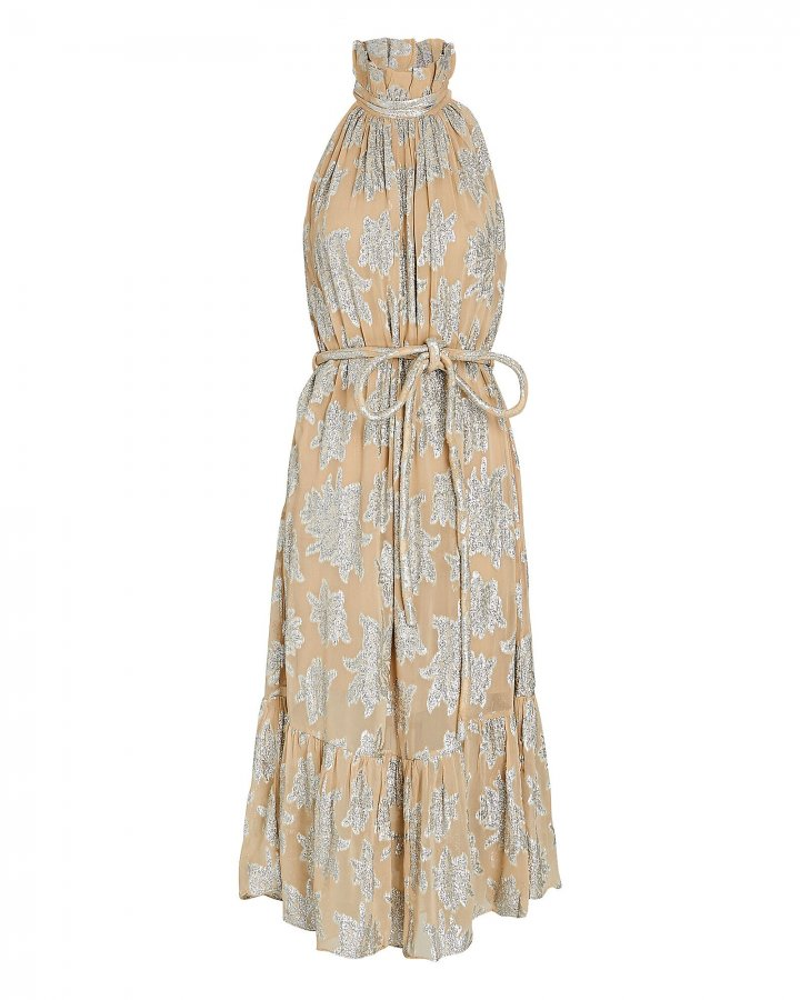 Laza Metallic Floral Midi Dress