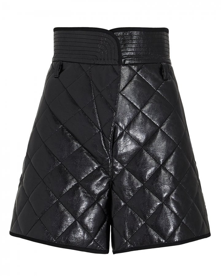 Quilted Paperbag Faux Leather Shorts
