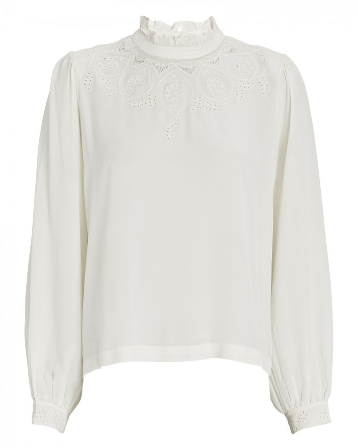Justine Lace-Trimmed Silk Blouse