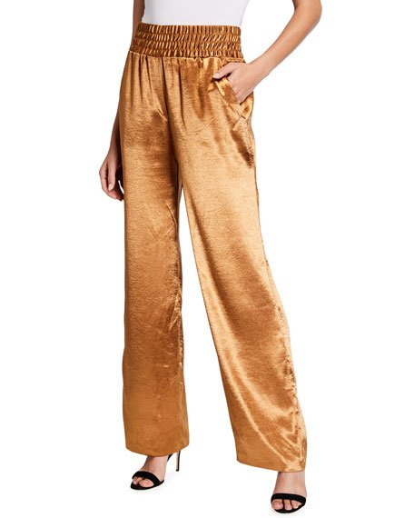 Kylie Satin High-Rise Pants