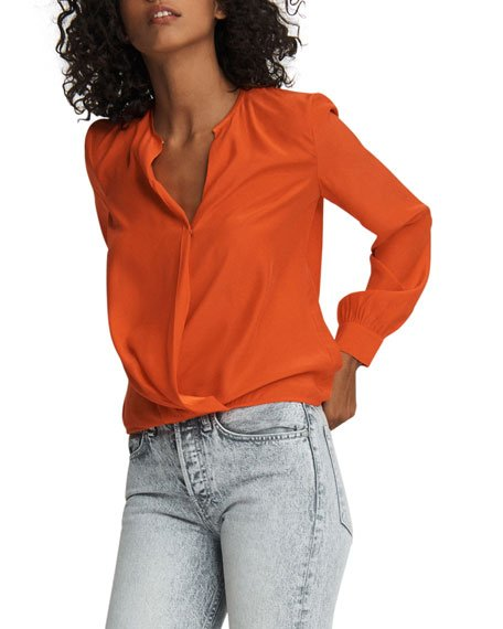 Lora Silk Long-Sleeve Blouse