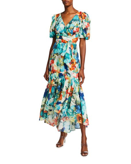 Marcel Floral Printed Puff-Sleeve Gown