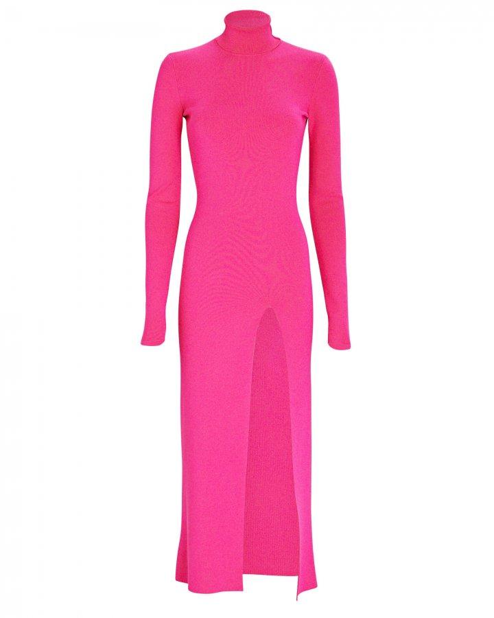 Turtleneck Rib Knit Midi Dress