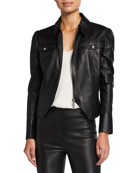 Puff-Sleeve Faux-Leather Moto Jacket