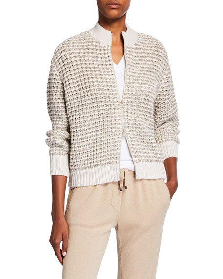 Metallic Striped Wool Cardigan