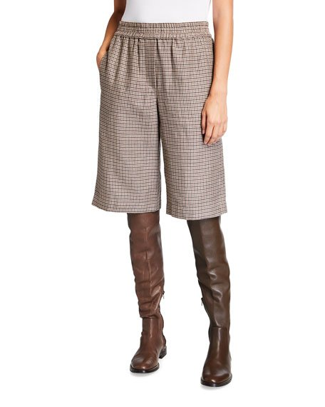 Houndstooth Pull-On Bermuda Shorts