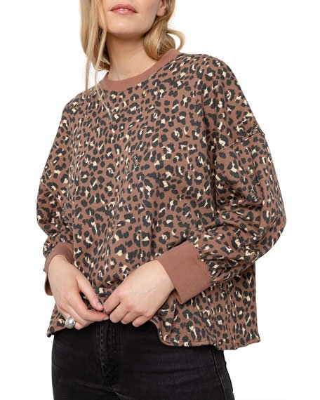 Reeves Leopard-Print Crewneck Sweater