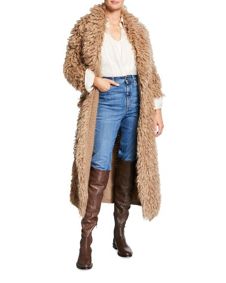 Long Chubby Mohair Coat with Leather Belt