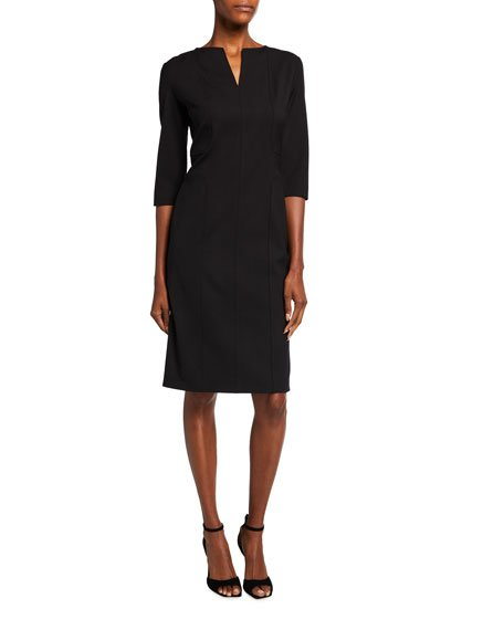Wool Raised-Seam 3/4-Sleeve Sheath Dress