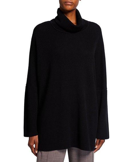 Turtleneck Ribbed Silk-Cashmere Sweater