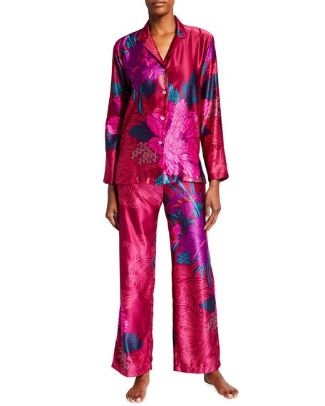 Jubako Floral Printed Satin Pajama Set
