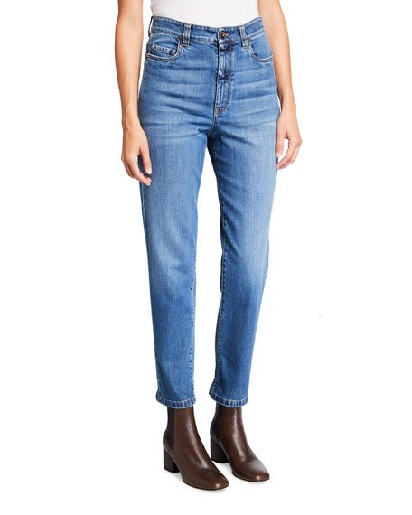 Monili-Trim Cuffed Boyfriend Denim Pants