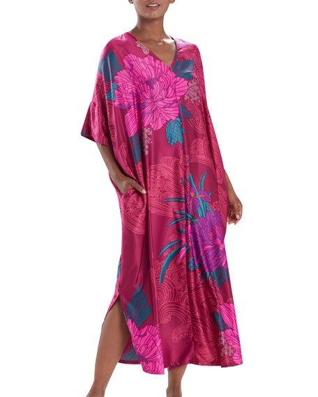 Jubako Floral Print Zip-Front Satin Caftan