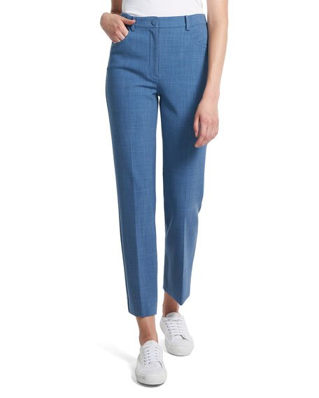 Stretch Twill Straight-Leg Ankle Pants
