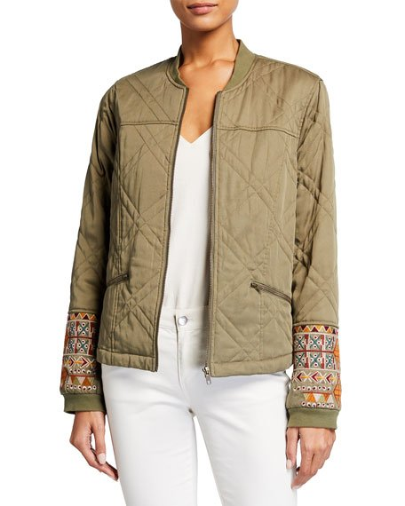 Leigh Quilted Seamed Bomber Jacket