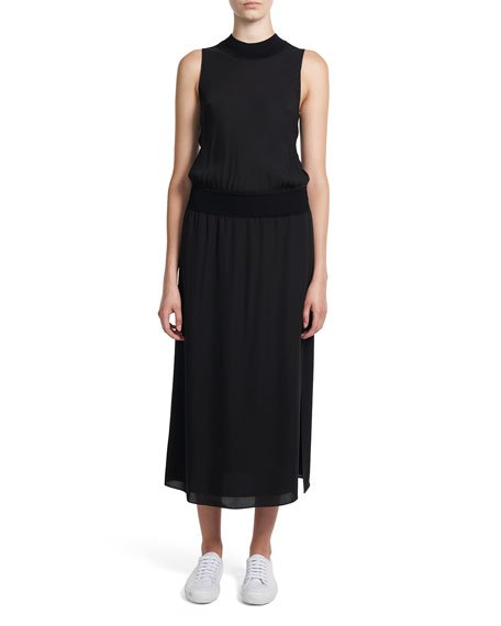Mock-Neck Sleeveless Long Silk Dress