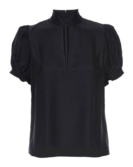 Pleated Mock-Neck Party Top