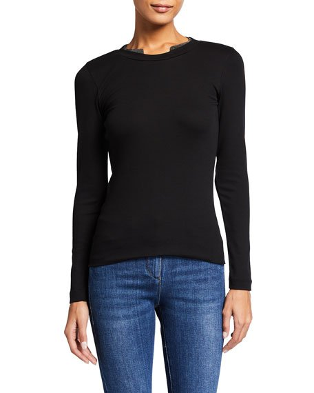 Crewneck Long-Sleeve Cotton Rib Tee w/ Monili Collar