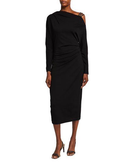Off-Shoulder Wool Jersey Dress w/ Monili Straps