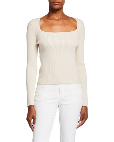 Portrait-Neck Ribbed Wool-Blend Sweater