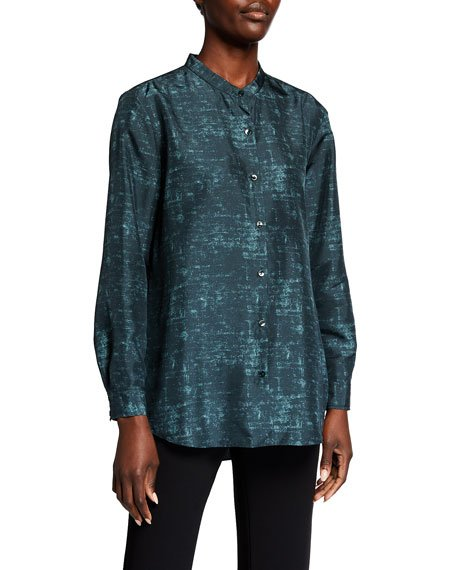Plus Size Abstract Printed Mandarin Collar Long-Sleeve Shirt