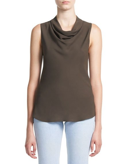 Cowl-Neck Sleeveless Silk Top