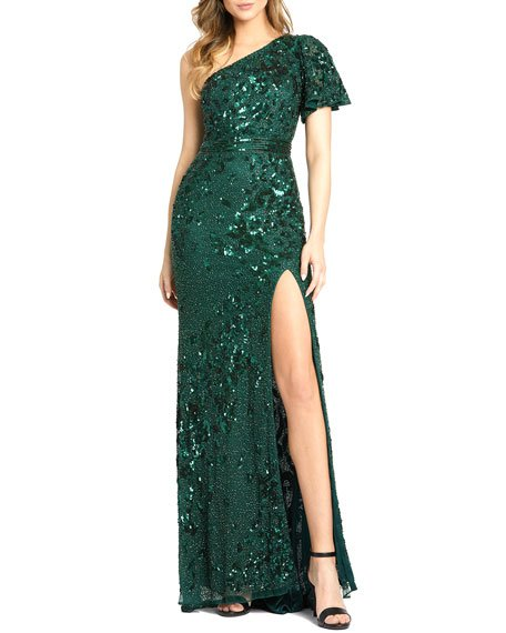 Sequined One-Shoulder Angel Sleeve Gown