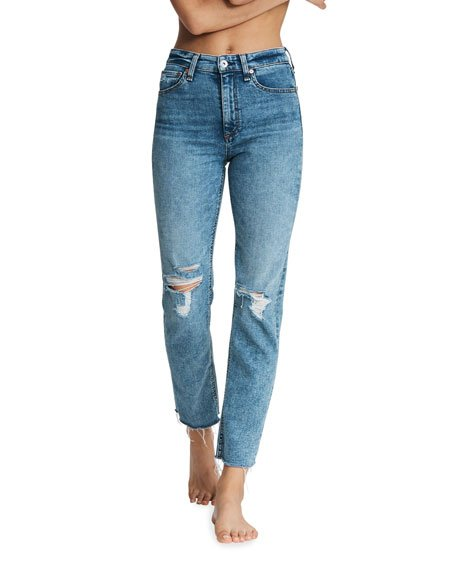 Nina High-Rise Ankle Cigarette Knee-Rip Jeans