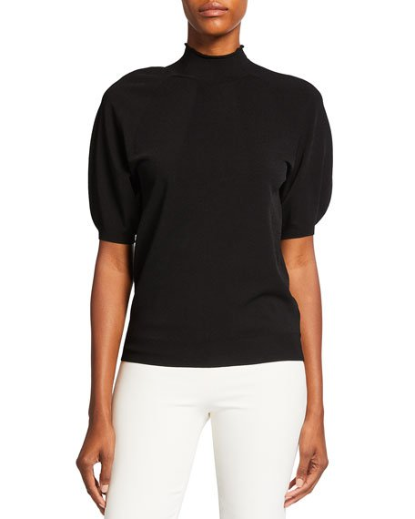 Seamless Puff-Sleeve Compact Crepe Top