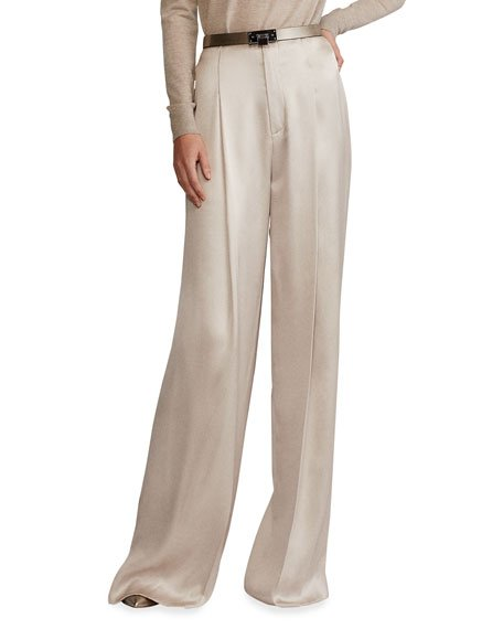 Diane Silk Satin Wide-Leg Pants