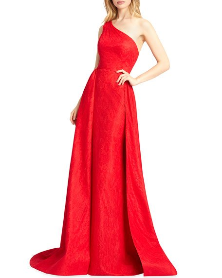 One-Shoulder Lace Column Gown with Overskirt