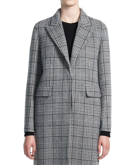 Clairene N Check Wool-Cashmere Coat
