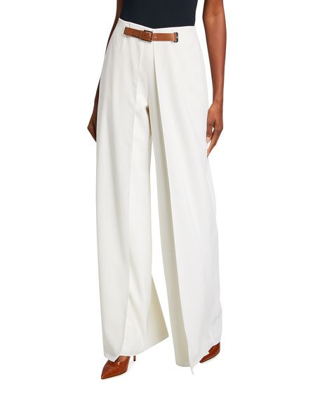 Kimberly Pleated Wool Pants w/ Leather Belt