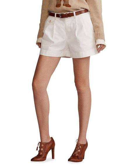 Michella Cotton Twill Cuffed Shorts