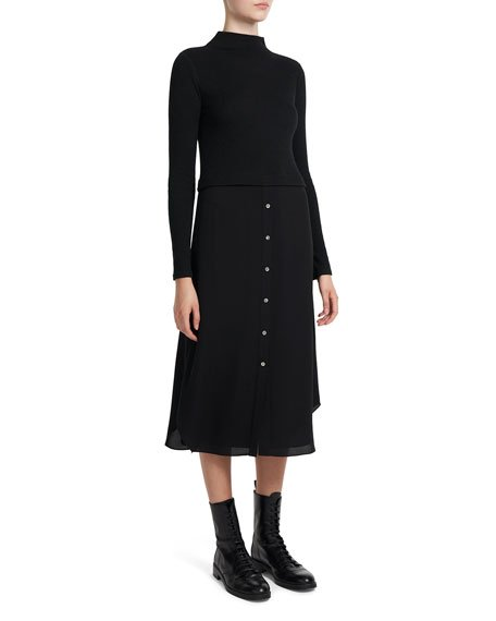 Long-Sleeve Ribbed Combo Dress