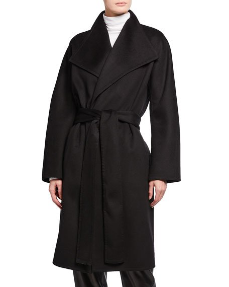 Drape Front Wool-Cashmere Coat