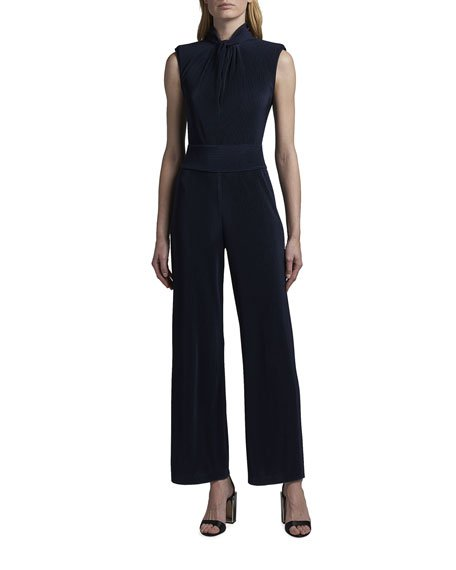 Sleeveless Plisse Jumpsuit